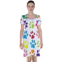 Paw Print Paw Prints Background Short Sleeve Nightdress