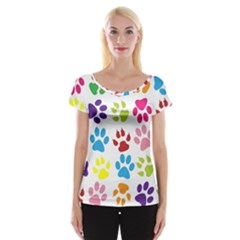 Paw Print Paw Prints Background Women s Cap Sleeve Top