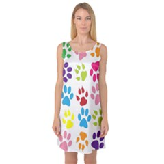 Paw Print Paw Prints Background Sleeveless Satin Nightdress