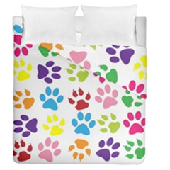 Paw Print Paw Prints Background Duvet Cover Double Side (queen Size)
