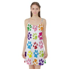 Paw Print Paw Prints Background Satin Night Slip