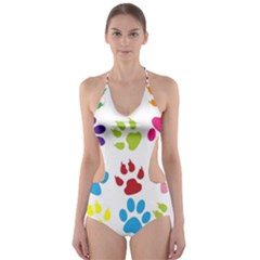 Paw Print Paw Prints Background Cut Out One Piece Swimsuit