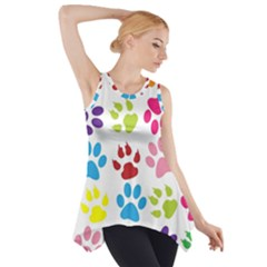 Paw Print Paw Prints Background Side Drop Tank Tunic