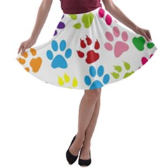 Paw Print Paw Prints Background A Line Skater Skirt