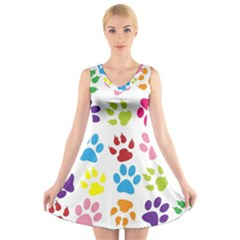 Paw Print Paw Prints Background V Neck Sleeveless Skater Dress