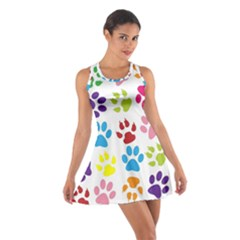 Paw Print Paw Prints Background Cotton Racerback Dress