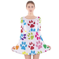 Paw Print Paw Prints Background Long Sleeve Velvet Skater Dress