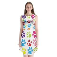Paw Print Paw Prints Background Sleeveless Chiffon Dress