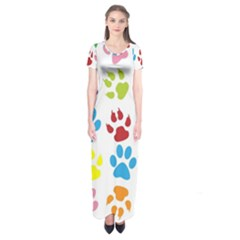 Paw Print Paw Prints Background Short Sleeve Maxi Dress