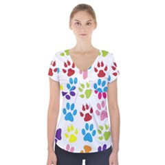 Paw Print Paw Prints Background Short Sleeve Front Detail Top