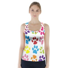 Paw Print Paw Prints Background Racer Back Sports Top