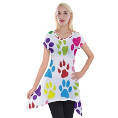 Paw Print Paw Prints Background Short Sleeve Side Drop Tunic