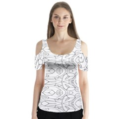 Pattern Silly Coloring Page Cool Butterfly Sleeve Cutout Tee