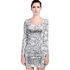 Pattern Silly Coloring Page Cool Long Sleeve Bodycon Dress