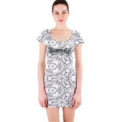 Pattern Silly Coloring Page Cool Short Sleeve Bodycon Dress