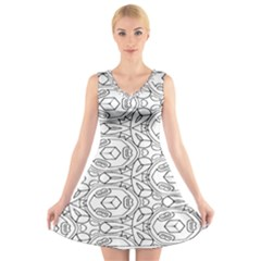 Pattern Silly Coloring Page Cool V Neck Sleeveless Skater Dress