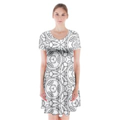 Pattern Silly Coloring Page Cool Short Sleeve V Neck Flare Dress