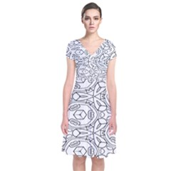 Pattern Silly Coloring Page Cool Short Sleeve Front Wrap Dress
