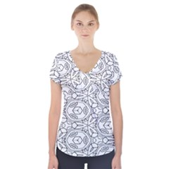 Pattern Silly Coloring Page Cool Short Sleeve Front Detail Top