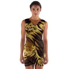 Pattern Tiger Stripes Print Animal Wrap Front Bodycon Dress