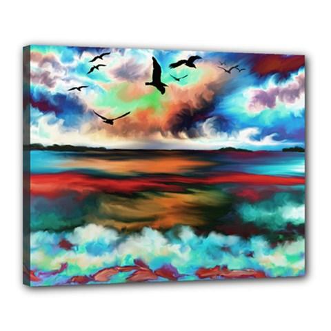 Ocean Waves Birds Colorful Sea Canvas 20  X 16