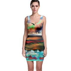 Ocean Waves Birds Colorful Sea Sleeveless Bodycon Dress