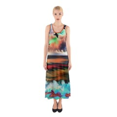 Ocean Waves Birds Colorful Sea Sleeveless Maxi Dress