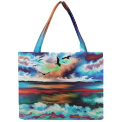 Ocean Waves Birds Colorful Sea Mini Tote Bag