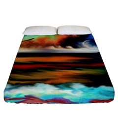Ocean Waves Birds Colorful Sea Fitted Sheet (king Size)