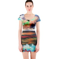 Ocean Waves Birds Colorful Sea Short Sleeve Bodycon Dress