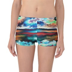 Ocean Waves Birds Colorful Sea Boyleg Bikini Bottoms