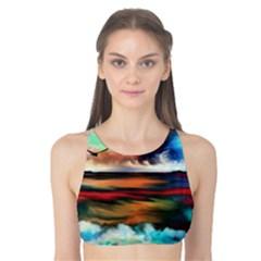 Ocean Waves Birds Colorful Sea Tank Bikini Top