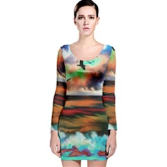 Ocean Waves Birds Colorful Sea Long Sleeve Velvet Bodycon Dress
