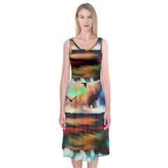Ocean Waves Birds Colorful Sea Midi Sleeveless Dress