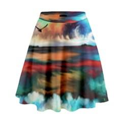 Ocean Waves Birds Colorful Sea High Waist Skirt