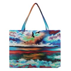 Ocean Waves Birds Colorful Sea Medium Tote Bag