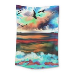 Ocean Waves Birds Colorful Sea Small Tapestry