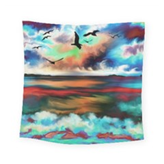 Ocean Waves Birds Colorful Sea Square Tapestry (small)