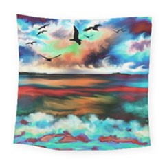 Ocean Waves Birds Colorful Sea Square Tapestry (large)