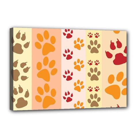 Paw Print Paw Prints Fun Background Canvas 18  X 12