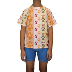 Paw Print Paw Prints Fun Background Kids  Short Sleeve Swimwear
