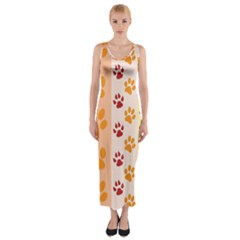 Paw Print Paw Prints Fun Background Fitted Maxi Dress