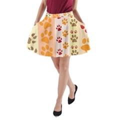 Paw Print Paw Prints Fun Background A Line Pocket Skirt