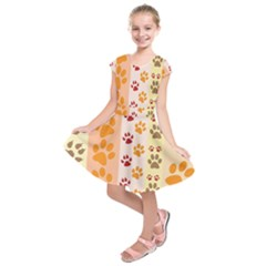 Paw Print Paw Prints Fun Background Kids  Short Sleeve Dress