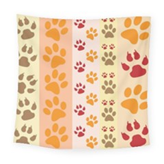 Paw Print Paw Prints Fun Background Square Tapestry (large)