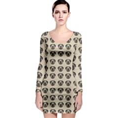 Puppy Dog Pug Pup Graphic Long Sleeve Bodycon Dress