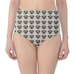 Puppy Dog Pug Pup Graphic High-Waist Bikini Bottoms