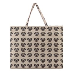 Puppy Dog Pug Pup Graphic Zipper Large Tote Bag