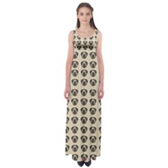 Puppy Dog Pug Pup Graphic Empire Waist Maxi Dress