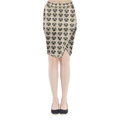 Puppy Dog Pug Pup Graphic Midi Wrap Pencil Skirt